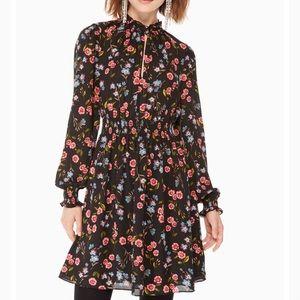 Kate Spade Meadow Chiffon Smocked Dress,XS